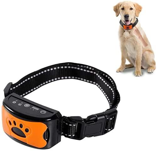 LUOWAN Verbessertes Antibell Halsband, (USB Wiederaufladbares) Verstellbares No Harm Anti-Barking Erziehungshalsband Hund mit Vibration, Sound und No-Schock für Kleine Mittelgroße Hunde