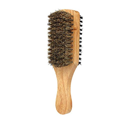 Boar Bristle Brush Natural Wooden Club Style Wave Brush for Men Styling Beard Hairbrush for Fine Thin or Thick Hair Double Sided Men Shaving Brush Best Horsehair Shave Wood Handle Razor Barber (Brown)