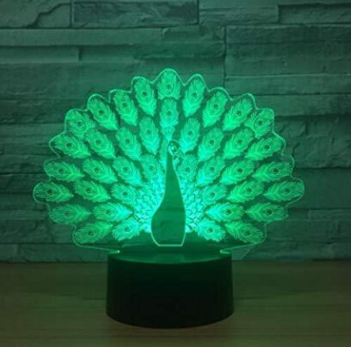 JJIEZZ Lámpara de Mesa de Pavo Real Animal cambiante de 7 Colores, luz Nocturna 3D, decoración del hogar, Regalos, lámpara para Dormir, Accesorio-Lámpara 1_Cambio de 7 Colores