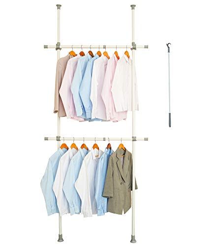 LUBAN KING Adjustable Clothing Rack with 2-Tier Heavy Duty Closet Hanger Rod,Closet Organizer with 220 lb Load, Freestanding Garment Rack with 30' W x 97' L - 53' W x 119' L, White