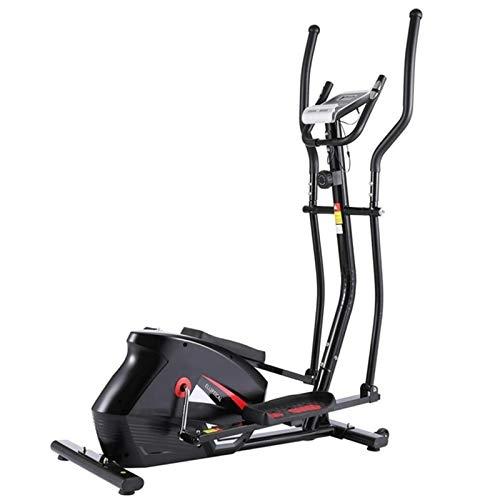 Bicicleta Estática Fitness del Entrenador de la máquina elíptica magnética de la Resistencia de 10 Niveles con Monitor LCD Ejercicio de Cuerpo Completo (Color : Black, Size : OneSize)