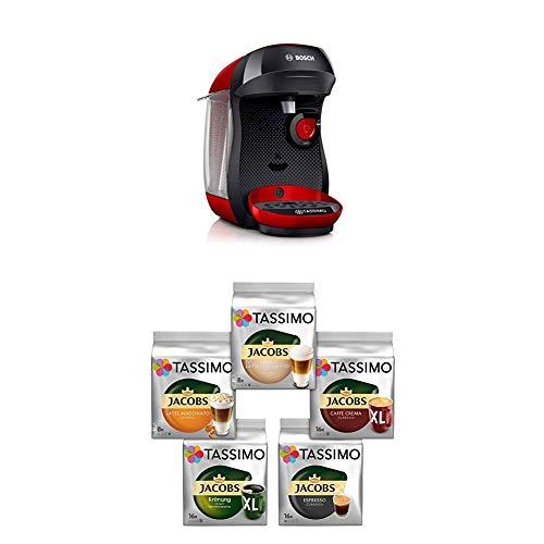 Bosch TAS1003 Tassimo Happy Kapselmaschine,1300 W, platzsparend, große Getränkevielfalt, just red + Tassimo Vielfaltspaket - 5 verschiedene Packungen kaffeehaltiger Getränke T Discs (1 x 927 g)