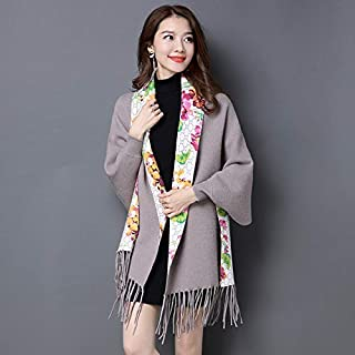 Winter Long Scarf Autumn and Winter Ladies Shawl Scarf Dual-use Sleeves Tassel Cloak Cloak bat-Type Print Jacket Female (Color : Yellow) Winter Soft Scarf (Color : Khaki)