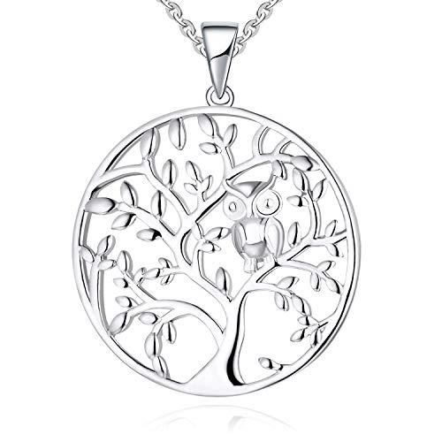 JO WISDOM Damen Kette Lebensbaum Eule Silber 925 Halskette Anhänger Yggdrasil Baum des Leben (Weißgoldfarbe)