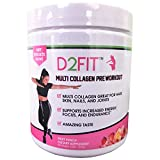 D2Fit (By Jessica Bass) Women's Pre Workout Multi Collagen (2,500mg) + Biotin (150mcg) - Great for Healthy Hair, Skin & Nails, Supports Increased Energy, Focus & Endurance - Fruit Punch 8.89 oz (252g)