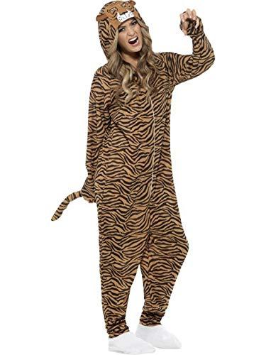 erdbeerclown - Unisex - Erwachsene Männer Frauen Kostüm Plüsch Tiger Fell Einteiler Onesie Overall Jumpsuit, perfekt für Karneval, Fasching und Fastnacht, L, Braun