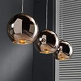 famlights Pendelleuchte Romeo aus Glas in Kupfer, 3-Flammig, E27, Industrie Design | Pendellampe für Wohnzimmer, Esszimmer | Designerleuchte Hängeleuchte | Industrial Esszimmerlampe Esszimmerleuchte
