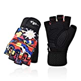 Vgo... Junior Half-Finger Breathable Skateboarding Gloves Outdoor Gloves with Anti-Abrasion Padding Palm (Blue&Red, SL3105-J) (Pink &...