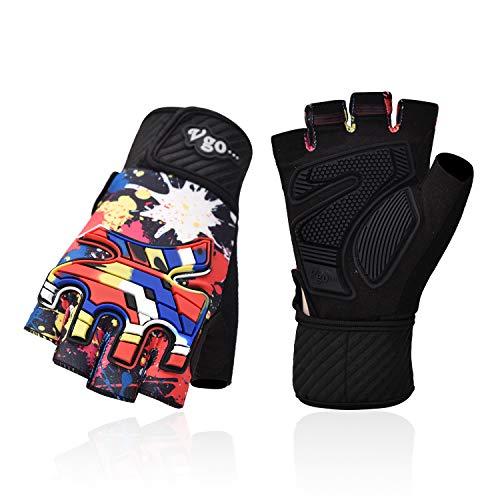 Vgo... Junior Half-Finger Breathable Skateboarding Gloves Outdoor Gloves with Anti-Abrasion Padding Palm (Blue&Red, SL3105-J) (Pink & Blue, Junior:XXXL (Age 15-16))