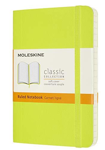 Moleskine - Cuaderno Clásico con Hojas de Rayas, Tapa Blanda y Cierre con Goma Elástica, Tamaño de Bolsillo 9 x 14 cm, Color Verde Limón, 192 páginas