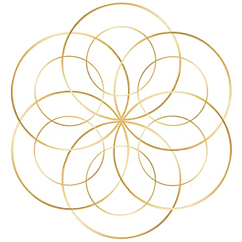 Celyoce 12 pezzi cerchi in metallo dorato da 20 cm e 25 cm set ghirlande floreali in metallo per acchiappasogni fai da te che fanno ghirlande nuziali e artigianato da appendere a parete