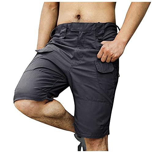 Herren Cargo Hose Sommer Kurze Hose Stretch Slim Fit Shorts wasserdichte und Atmungsaktive Radlerhose Mountainbike Hose Baggy Bike Shorts,viele Taschen,S-5XL
