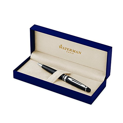 Waterman Expert Ballpoint Pen Gloss Black with Chrome Trim Medium Point with Blue Ink Cartridge Gift Box