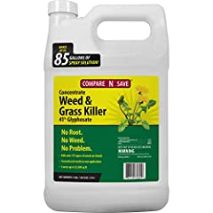 Rainproof in 2 hours Visible results in as little as 2 to 4 days Contains 41-percent glyphosate Covers over 25,000 square feet Makes up to 85 gal. of ready-to-use spray. Note: Packaging may vary
