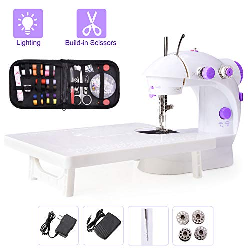 Suteck Mini Sewing Machine for Beginners Portable Electric Sewing Machines with Extension Table, Bonus 68pcs Sewing Kit