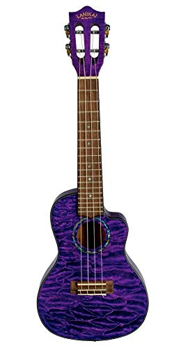 Lanikai Quilted Maple Purple Stain Concert A/E Ukulele with Padded Gig Bag