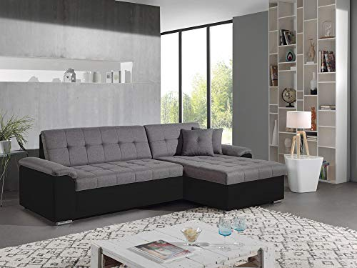 Bestmobilier - Hans - Canapé dangle réversible Convertible - en Tissu et Simili - 4 Places - avec Coffre