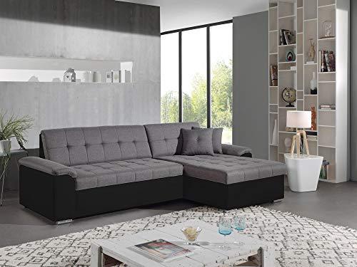 Bestmobilier - Hans - Canapé d'angle réversible Convertible - en Tissu et Simili - 4 Places - avec...