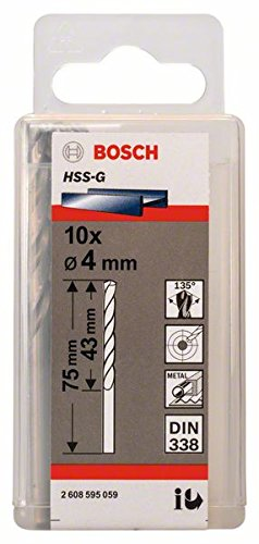 Bosch Professional Metallbohrer HSS-G geschliffen (10 Stück, Ø 4 mm)
