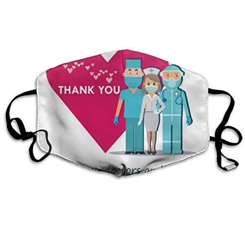 Reusable Fabric Bandana Face Breathable Skin Care Illustration Thank You Doctors Nurses Team Covid Coronavirus Designer Custom Protection Large For Women Men