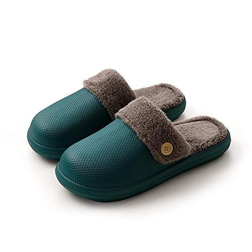 B/H Espuma de Memoria Zapatos con AntideslizanteSuela,Non-Slip Thermal Cotton Slippers, Thick Bottom Support for Indoor Couples-Dark Green_44-45