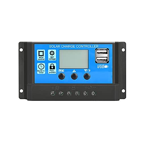 MOPOIN Régulateur de charge solaire 30 A 12 V/24 V Panneau solaire Contrôleur de charge LCD Écran solaire Régulateur intelligent avec double ports USB