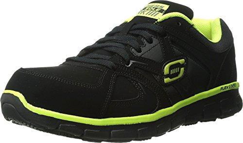 Skechers for Work Men's Synergy Ekron Walking Shoe,Black/Lime,10 M US