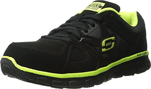 Skechers for Work Men's Synergy Ekron Walking Shoe,Black/Lime,10 M US