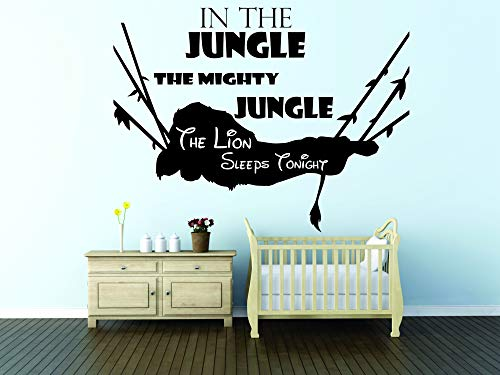In The Jungle The Mighty Jungle The Lion Sleeps Tonight Song Quote / Disney The Lion King Movie Simba / Nursery Wall Decals for Walls / Stickers Vinyl Art Baby Decor Cute Designs (22x30 inch)