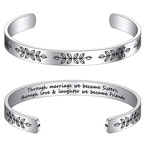 Gifts For Sister In Law For Wedding - Through Marriage We Became Sisters Through Love And Laughter We Became Friends Bracelet Bday Christmas Wedding Gifts for Sister in Law from Sister In Law