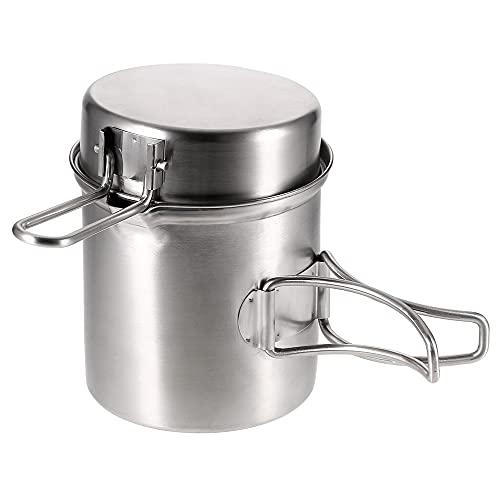 Estufa de acero inoxidable portátil Estufa de cocina Estufa de utensilios de cocina Sistema de senderismo al aire libre Mochila de picnic Vajilla de utensilios de cocina (Color : Pot)