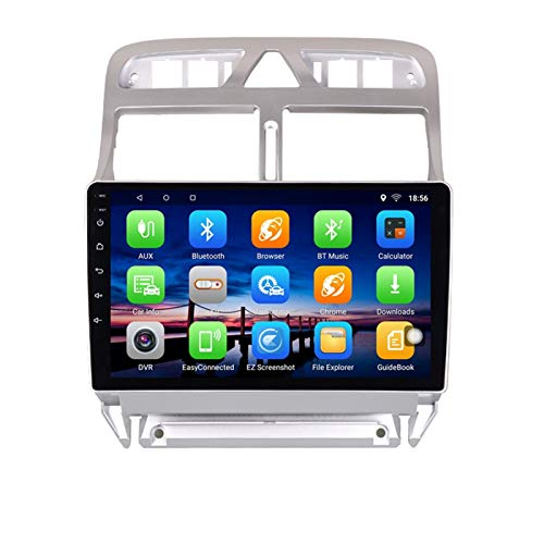 KCSAC Android 10 Car DVD Player Multimedia GPS Se Adapta a Peugeot 307 SW CC 2002 03 2004 2005 2007 2013 Audio Auto Radio Estéreo navegación (Color : Silver White)