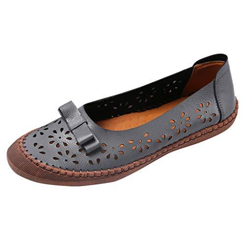 Deloito Damen Freizeit Keile Halbschuhe Große Größen aushöhlen Wanderschuhe Mokassins Müßiggänger Weiche Bequeme Leder Einzelne Schuhe (Grau,43 EU)