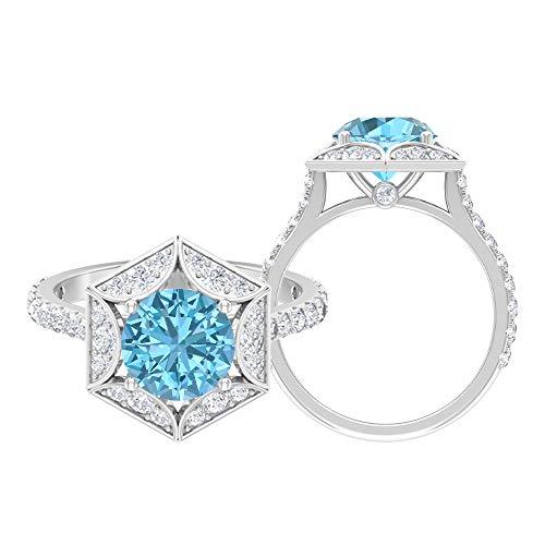 Anillo solitario de 8 mm, D-VSSI Moissanita, anillo de compromiso hexagonal, anillo de oro vintage, oro blanco de 14 quilates