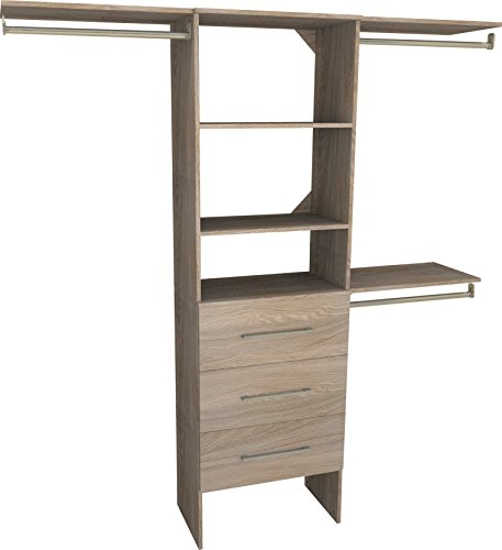 ClosetMaid 1936040 SuiteSymphony Modern 25-Inch Closet Organizer with Shelves and 3-Drawers, Natural Gray