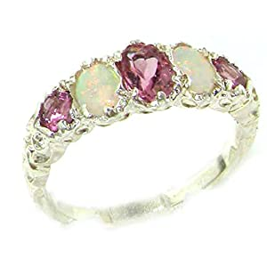 925 Sterling Silver Real Genuine Pink Tourmaline and Opal Womens Ring