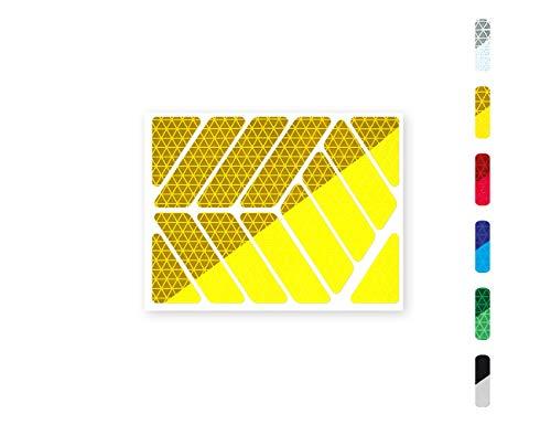 Streifen (quer oder gerade) Reflektor-Aufkleber - 6 Farben zur Auswahl – zwei Reflexions-Stärken (Classic Light und Pro) – für Kinderwagen, Fahrräder, Roller, Helme, Rollator (quer/Classic Pro, gelb)