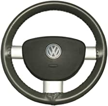 product image for Wheelskins Genuine Leather Charcoal Steering Wheel Cover Compatible with Chevy -Size AXX