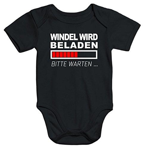 MoonWorks lustiger Baby-Body Windel Wird beladen Bio-Baumwolle Kurzarm Aufdruck schwarz 3-6 Monate