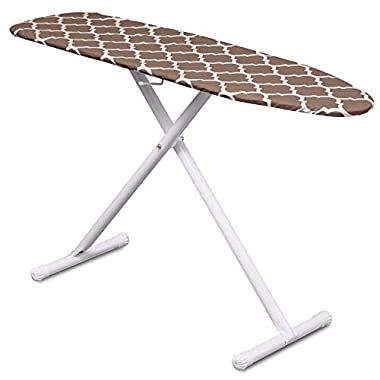 Mabel Home T-Leg Adjustable Height Ironing Board with Light-Brown/White Patterned Cotton Cover, Extra Cover