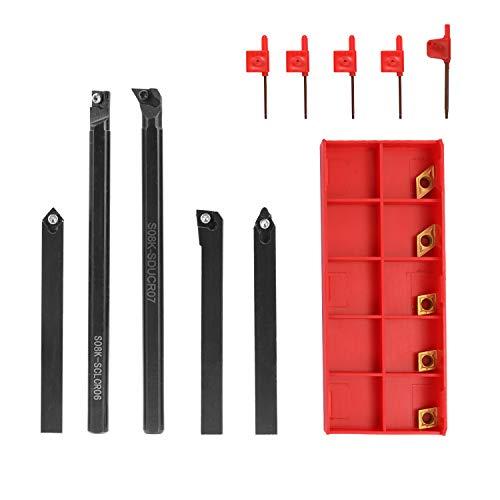 KKmoon - Juego de 5 herramientas de giro de 8 mm para barra de taladro + 3 piezas CCMT060204 + 2 piezas DCMT070204 juego de inserción de carburo