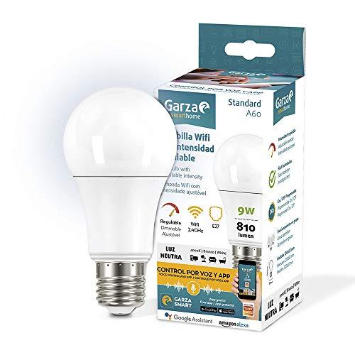 Garza ® Smarthome - Bombilla LED Estandar Inteligente Wifi E27, luz blanca neutra regulable con cambio de...
