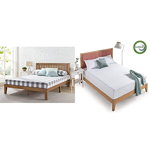 Zinus Alexia 12 Inch Wood Platform Bed with Headboard/No Box Spring Needed/Wood Slat Support/Rustic Pine Finish, Queen & 12 Inch Gel-Infused Green Tea Memory Foam Mattress, Queen