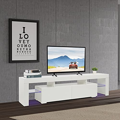 VINGLI White TV Stand with Purple LED Light Modern 71 Inch TV Stand TV Cabinet with Storage, 2 Drawer and Shelves for Living Room Bedroom Furniture