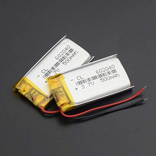 THENAGD 602040 Batería De 3.7v 500mah, Ion De Litio Recargable del Li-PolíMero del Li-Po del Litio De La Alta Capacidad 2pieces