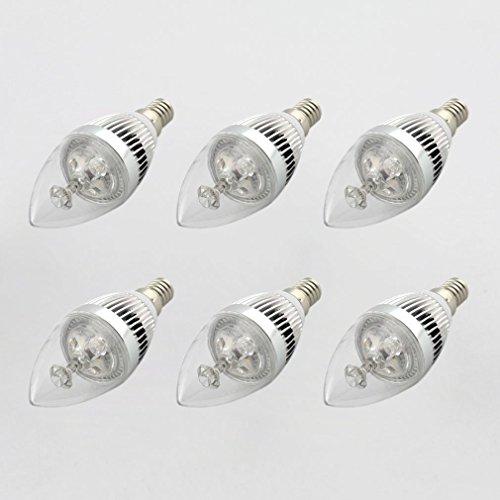 6pcs x Ossun 3W E14dimmerabile a LED a forma di candela LED ad alta potenza, bianco caldo/bianco freddo, Cool White, E14, 3.00 wattsW 230.00 voltsV