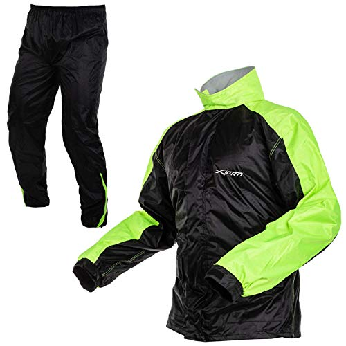 Giacca Pantaloni Impermeabile Antipioggia Scooter Alta Visibilità Moto FLUO M