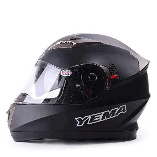 ZXW Casque- Casque complet pour homme de moto quatre saisons recouvert d'une grande casque anti-buée grand hiver d'une locomotive chaude (Couleur : Noir mat-27x35cm)