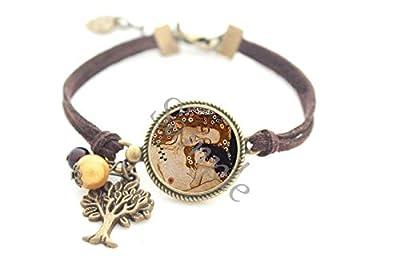 Bracelet femme baiser amour Klimt - noir marron