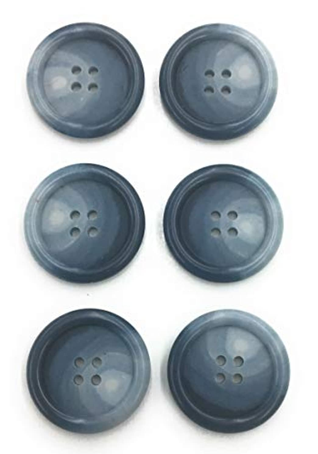 6 Marbleized Navy Blue Buttons Set- 1-1/8',1'', or3/4'' Tailored 4 Hole Sew On Buttons for Sportcoat, Dress,Blazer, Sport Coat and Jackets Sport Coats 6pc.1-1/8'', 1'', 3/4'' (.75)